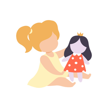 Cute Little Girl Playing with Her Doll Vector Illustration