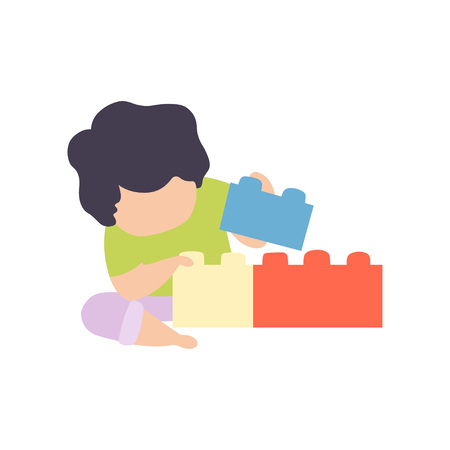Cute Little Boy Playing with Colorful Toy Blocks Vector Illustration