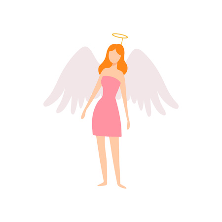 Young Woman in Angel Costume with Wings and Halo, Masquerade Ball, Carnival Party Design Element Vector Illustration on White Background. Иллюстрация