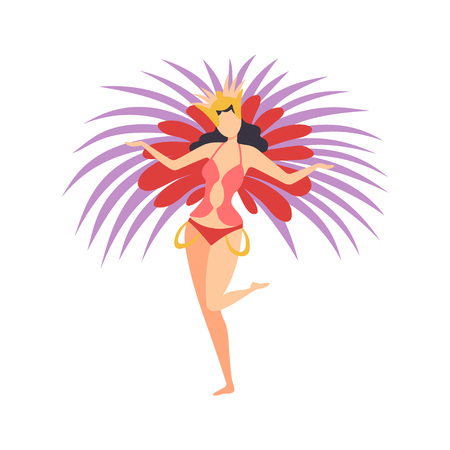 Beautiful Girl Wearing Bright Festival Costume, Brazilian Carnival Samba Dancers, Masquerade Ball, Carnival Party Design Element Vector Illustration on White Background.