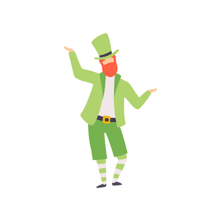 Redhead Bearded Man in Green Irish Costume and Hat, Guy Celebrating Saint Patrick Day, Masquerade Ball, Carnival Party Design Element Vector Illustration
