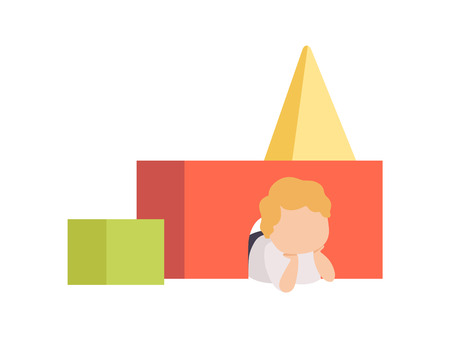 Adorable Little Boy Lying on Floor Playing with Toy Blocks Vector Illustration