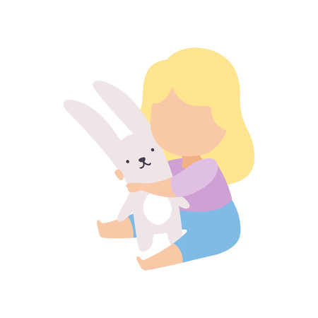 Cute Little Blonde Girl Playing Hugging Stuffed Toy Bunny Vector Illustration