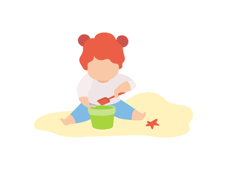 Cute Little Girl Playing in Sand with Bucket and Shovel, Kid Playing on Beach on Summer Holidays Vector Illustration on White Background. Illustration