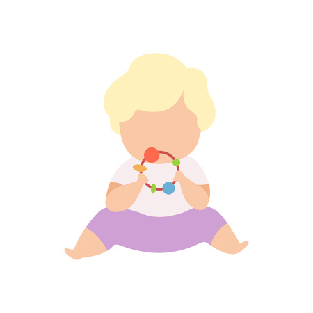 Adorable Little Kid Sitting on Floor Playing with Baby Rattle Vector Illustration on White Background. Ilustracja