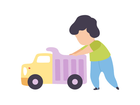 Adorable Little Boy Playing with Toy Truck Vector Illustration