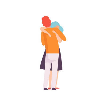 Loving Couple Hugging, Happy Romantic Young Mand and Woman in Love, Back View Vector Illustration on White Background.