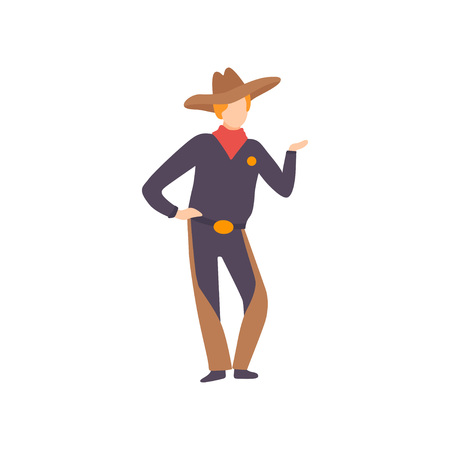 Young Man Dressed as Cowboy, Guy in Bright Festival Costume, Masquerade Ball, Carnival Party Design Element Vector Illustration Ilustrace