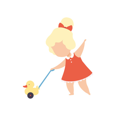 Cute Little Blonde Girl Playing with Toy Duck Vector Illustration Illustration