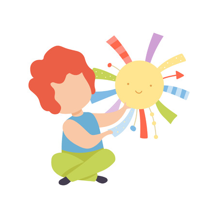 Cute Little Kid Playing with Toy Sun Vector Illustration