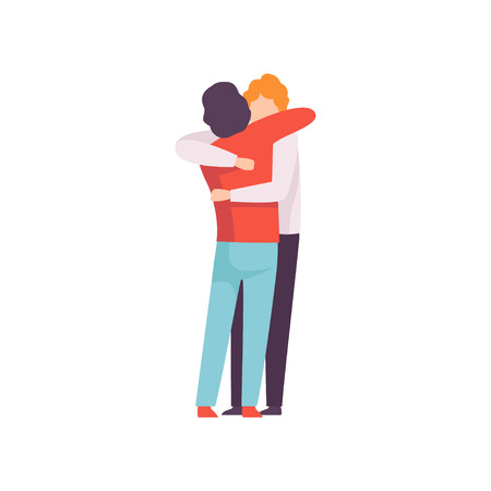 Young Men Embracing Each Other, Happy Meeting, People Celebrating Event, Best Friends, Friendship Concept Vector Illustration 版權商用圖片 - 123352934