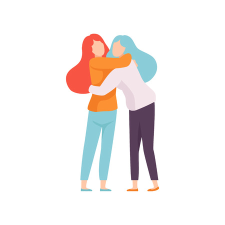Two Women Embracing Each Other, Happy Meeting, People Celebrating Event, Best Friends, Friendship Concept Vector Illustration