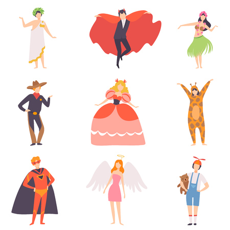 People in Bright Festival Costumes Set, Vampire, Hawaiian Girl, Cowboy, Princess, Tiger, Superhero, Angel, Masquerade Ball, Carnival Party Design Element Vector Illustration Banque d'images - 123353166