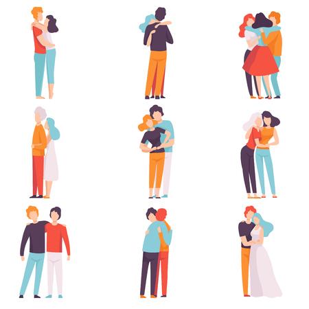 Glückliche Männer und Frauen, die sich gegenseitig umarmen, Menschen, die ein Ereignis feiern, verliebte Paare, beste Freunde-Vektor-Illustration