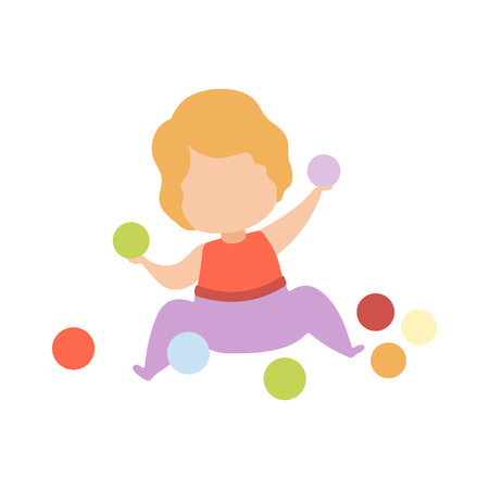 Cute Adorable Little Kid Playing with Colorful Balls Vector Illustration