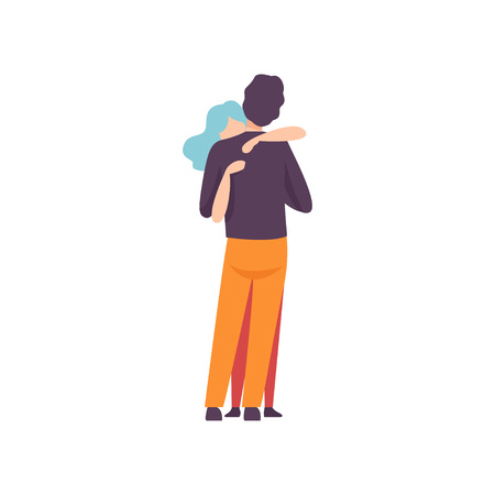 Young Man and Woman in Love Hugging, Happy Romantic Couple on Date, Back View Vector Illustration on White Background. 版權商用圖片 - 128163845