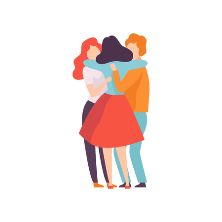 Group of Happy Young Male and Female Embracing Each Other, People Celebrating Event, Best Friends, Friendship Concept Vector Illustration on White Background.