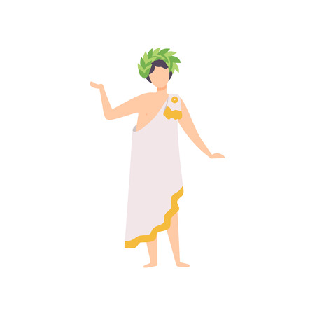 Young Man in Traditional Greek Clothing and Laurel Wreath, Masquerade Ball, Carnival Party Design Element Vector Illustration Banque d'images - 123353064