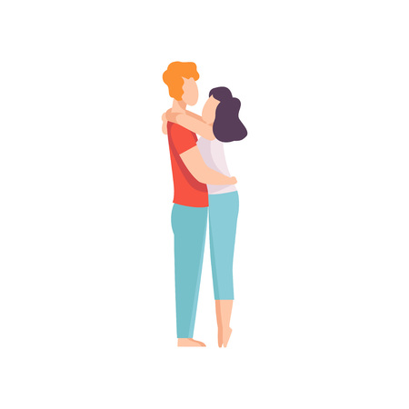 Happy Couple Hugging Each Other, Romantic Couple in Love Vector Illustration on White Background. 版權商用圖片 - 128163847