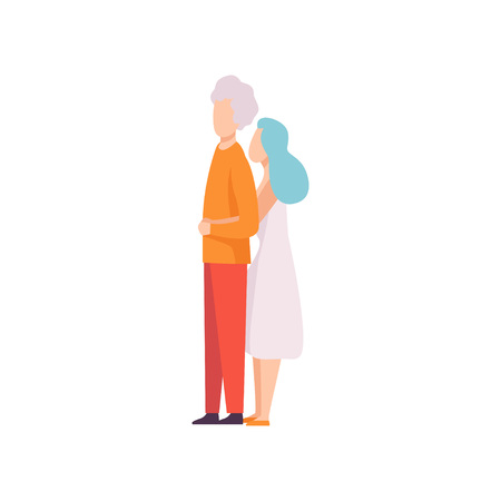 Woman Leaning on Man Back and Hugging Him, Happy Romantic Couple in Love Vector Illustration on White Background. 向量圖像