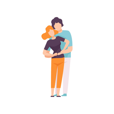 Young Man and Woman in Love Hugging, Happy Romantic Couple Vector Illustration