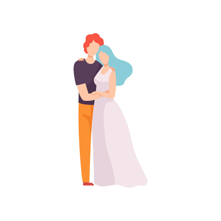 Young Man and Woman in Love Hugging, Happy Romantic Couple Posing Vector Illustration on White Background. 向量圖像