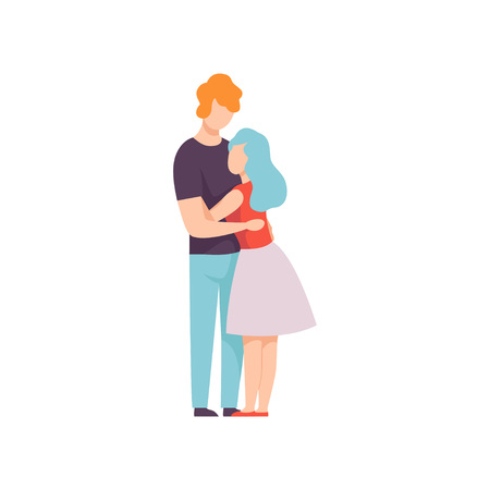 Happy Couple Hugging Each Other, Young Man and Woman in Love Vector Illustration on White Background. 版權商用圖片 - 128163850
