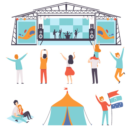 Open Air Festival Set, Music Band Performing on Stage, People Dancing, Cheering, Partying in Camping Park Vector Illustration on White Background. Vectores