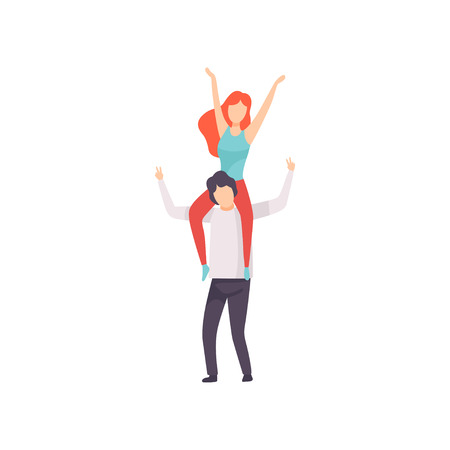 Girl Sitting on Shoulders of Guy with Hands Raised, People Dancing, Cheering, Relaxing, Partying Open Air Festival, Outdoor Summer Concert Vector Illustration on White Background.