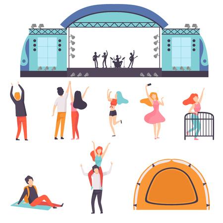 Set Festival all'aperto, banda musicale che si esibisce sul palco, gente che balla, tifo, relax, festa nell'illustrazione di vettore del parco di campeggio su priorità bassa bianca.