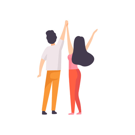 Girl and Guy Standing with Hands Raised, Back View, People Relaxing, Partying Open Air Festival, Outdoor Summer Concert Vector Illustration on White Background.