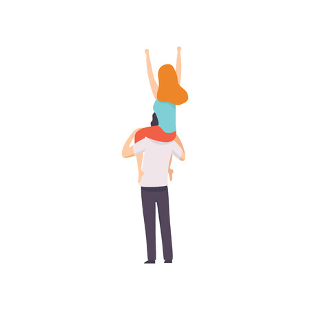Girl Sitting on Shoulders of Guy with Hands Raised, Back View, People Dancing, Cheering, Relaxing, Partying Open Air Festival, Outdoor Summer Concert Vector Illustration on White Background.