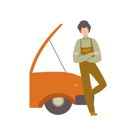 Professional Auto Mechanic Character in Uniform Repairing Car Vector Illustration on White Background.