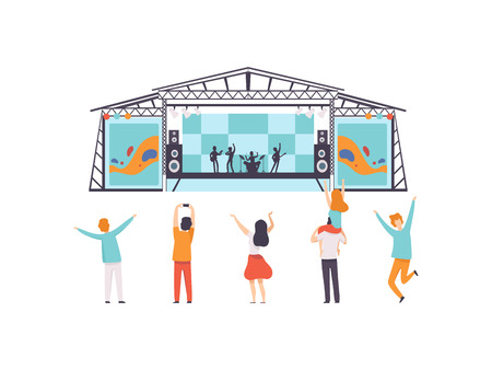 Open Air Festival, Music Band Performing on Stage, People Dancing, Cheering, Partying Vector Illustration on White Background.