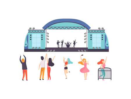 Open Air Festival, Music Band Performing on Stage, People Dancing, Cheering, Partying, Relaxing Vector Illustration on White Background.