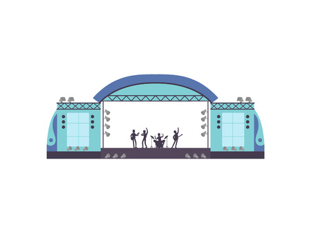 Open Air Festival, Music Band Performing on Stage, Outdoor Concert Vector Illustration on White Background. Ilustração