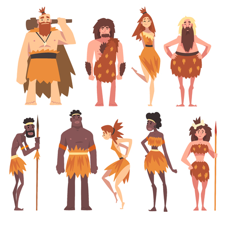 Prehistoric People Set, Primitive Stone Age Men and Women in Animal Pelts Cartoon Character Vector Illustration on White Background.