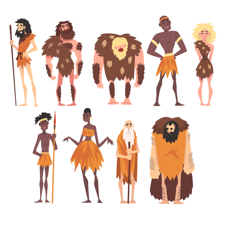 Prehistoric People Set, Primitive Stone Age, Native Men and Women in Animal Pelts Cartoon Character Vector Illustration on White Background.