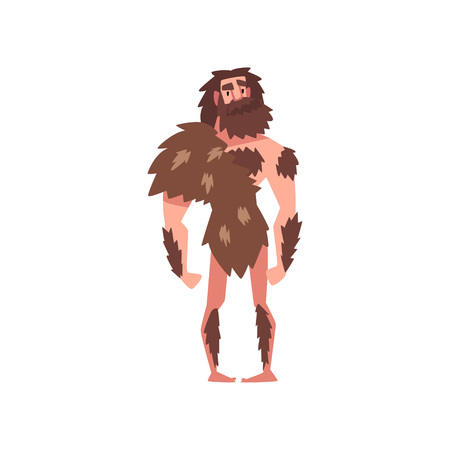 Prehistoric Bearded Man, Primitive Stone Age Caveman Wearing Animal Pelt Cartoon Character Vector Illustration on White Background.