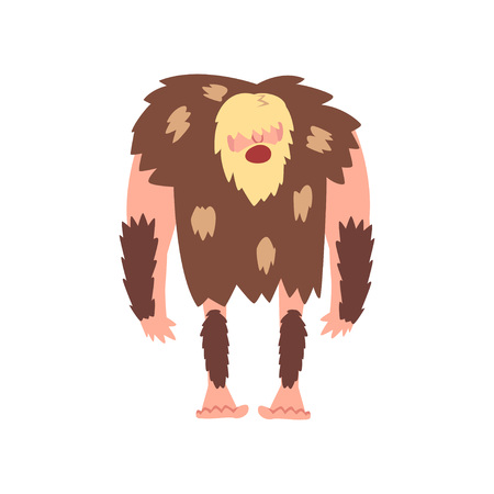 Prehistoric Muscular Bearded Man, Primitive Stone Age Caveman in Animal Pelt Cartoon Character Vector Illustration on White Background.