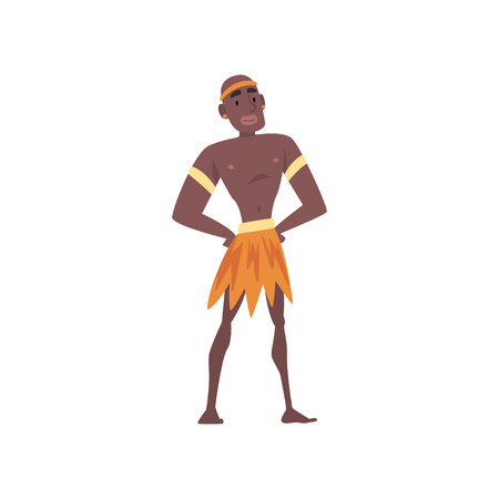 Native Black Skinned Man in Traditional Clothes, African or Australian Aborigine Cartoon Character Vector Illustration on White Background. 向量圖像