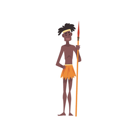 Native Black Skinned Man in Traditional Costume, Male Australian Aborigine Cartoon Character with Spear Vector Illustration on White Background. Foto de archivo - 128163892