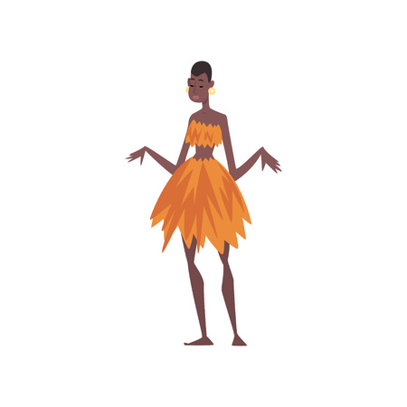 Beautiful Native Black Skinned Woman in Traditional Clothes, African or Australian Aborigine Cartoon Character Vector Illustration