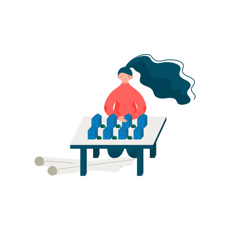 Woman Architect Working on Building Model Design, Female Professional Engineer Character Vector Illustration on White Background.