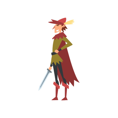 Nobleman in Historical European Costume with Sword, Medieval Character Vector Illustration on White Background.  イラスト・ベクター素材
