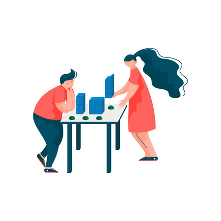 Architects Working on the Project, Male and Female Professional Engineers Characters Vector Illustration on White Background. Stock Illustratie