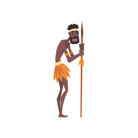 Native Black Skinned Man in Traditional Costume with Spear, African or Australian Aborigine Cartoon Character Vector Illustration on White Background.