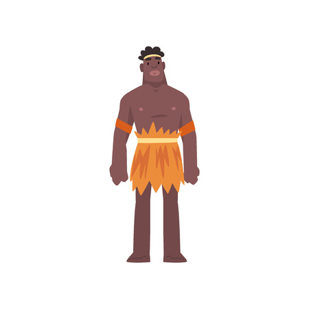 Native Black Skinned Man in Traditional Costume, Australian Aborigine Cartoon Character Vector Illustration on White Background. 일러스트