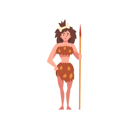 Prehistoric Girl Standing with Spear, Primitive Stone Age Cavewoman Cartoon Character Vector Illustration on White Background. Vector Illustration
