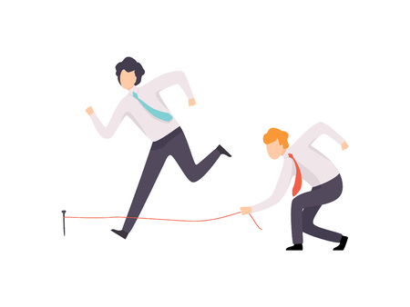 Envious Businessman Tripping His Successful Colleague, Business Competition, Rivalry Between Colleagues, Office Workers Challenging Vector Illustration on White Background. Illustration